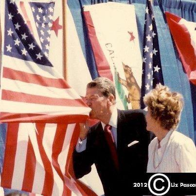 Reagan Kissing US Flag